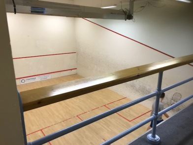 Indoor squash courts can be used in inclement weather